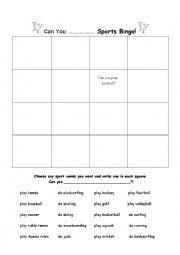 english worksheets can you play do sports bingo. Black Bedroom Furniture Sets. Home Design Ideas