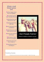 English Worksheet: What a real friend gives you ? read quotes about friendship + a poem