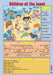 English Worksheet: Children at the Beach