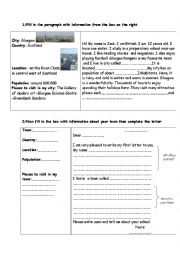 English Worksheet: town description guided writing