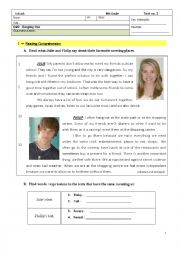 English Worksheet: Test - 8th Grade - Hanging Out