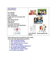 English Worksheet: NEW FRIENDS (A  short illustrated poem)