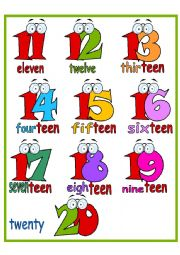 Cardinal Numbers Poster from 11 to 20