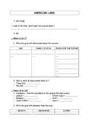 English Worksheet: American land