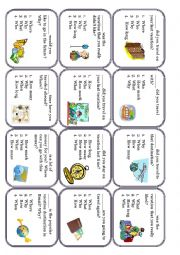 English Worksheet: Wh-questions conversation cards about traveling