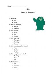 English Worksheet: Muzzy in gondoland.Quiz