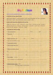 English Worksheet: Listening comprehension : Amy Winehouse