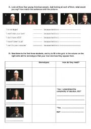 English Worksheet: Stereotypes video comprehension