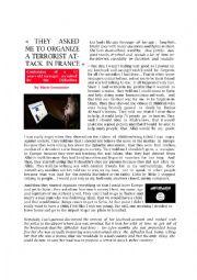 English Worksheet: Reading comprehension B1-B2 - Djihad Teen