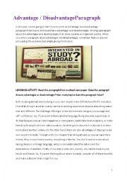 English Worksheet: Advantages, Disadvantages paragraphs