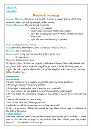 English Worksheet: Pocket Money lesson four module 1 for 9th
