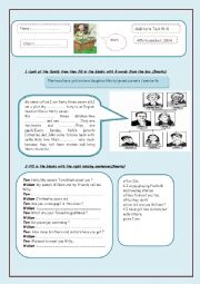 English Worksheet: mid-term test 1 (7th formers)