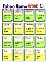 English Worksheet: Taboo Card (Guessing game) : Work 2 (Adult/Basic)