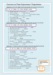 English Worksheet: Exercises on Time Expressions / Prepositions: