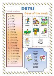 English Worksheet: Dates