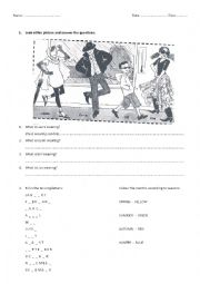 English Worksheet: Months, seasons and clothes