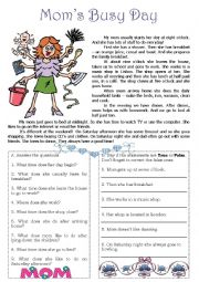 english worksheets mom s busy day reading. Black Bedroom Furniture Sets. Home Design Ideas