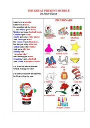 English Worksheet: THE GREAT PRESENT MUDDLE (An illustrated funny Christmas poem + a matching exercise)