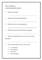 English Worksheet: Dental Appointment