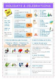 English Worksheet: Holidays and Celebrations- Prepositions of time