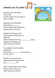 English Worksheet: Over The Rainbow - Fill in the lyrics gaps - Ukulele version song