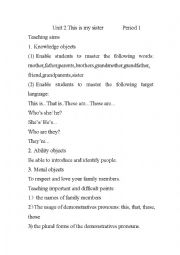 English Worksheet: lesson plan of this is my sister