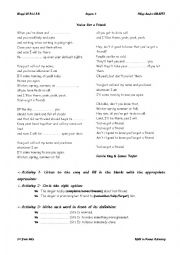 English Worksheet: You´ve Got a Friend