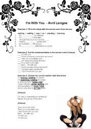 English Worksheet: Song Class - I�m With You (Avril Lavigne)