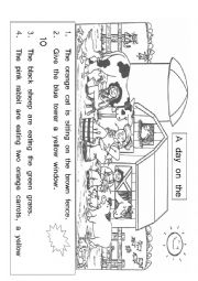 English Worksheet: Farm Animals Reading activity for English Second Language