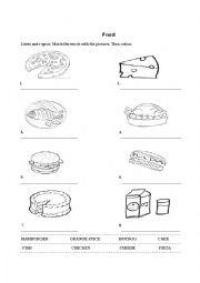 Food Worksheet for kids