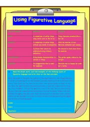 English Worksheet: Using Figurative Language