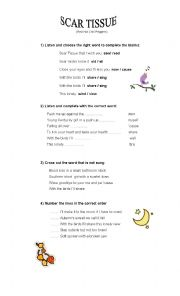 English Worksheet: Song scar tissue (Red hot Chili peppers)