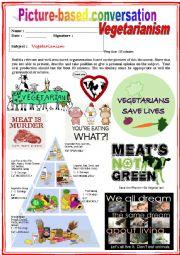 Picture based conversation.  Vegetarianism. (Debating) 29/…