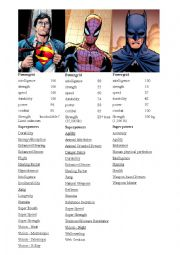 English Worksheet: Comparatives and superlatives about superheroes