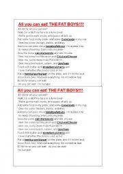 English Worksheet: song using food language