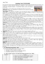 English Worksheet: Reading on citizenship