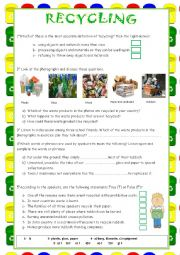 English Worksheet: RECYCLING (WITH AUDIO ) + KEY