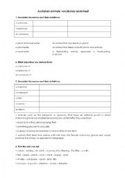 English Worksheet: Australian animals - vocabulary worksheet
