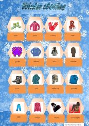 English Worksheet: Winter clothes pictionary.