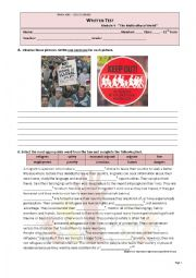 English Worksheet: 11th grade TEST - Multicultural World - Teen Refugees - Passive Voice