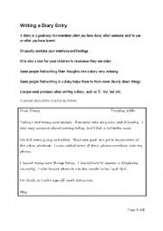 English Worksheet: Writing a Diary Entry