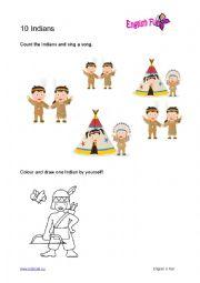 English Worksheet: 10 Little Indians