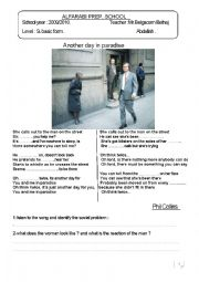 English Worksheet: another Day in Paradise/ Phil Collins