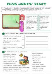 English Worksheet: Miss Jones´ Diary