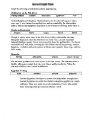 English Worksheet: Ancient Egypt missing words