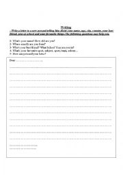 English Worksheet: Write a letter to a new pen-pal