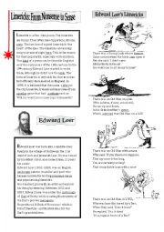 English Worksheet: Edward Leer�s Limericks
