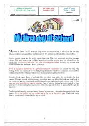 English Worksheet: My first day at school Full Term 1 test 8th Form Tunisia