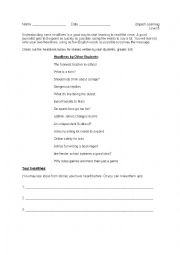 English Worksheet: Understanding News Headlines