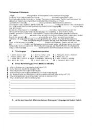 english worksheets reading comprehention the language of shakespeare. Black Bedroom Furniture Sets. Home Design Ideas